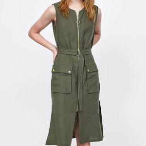 NWT Zara Linen Midi Dress